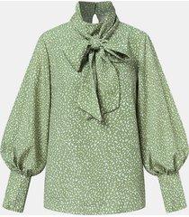 camicetta casual a maniche lunghe con stampa floreale bowknot per donna