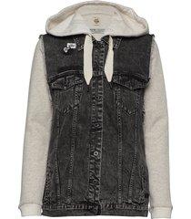 ams blauw felix the cat over d black trucker vest with in jeansjack denimjack grijs scotch & soda