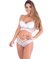 conjunto caleçon vip lingerie com tule transparente branco