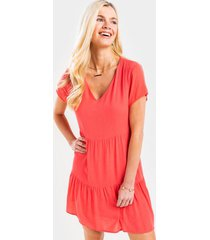 aby tiered swing babydoll dress - coral