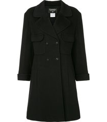 chanel pre-owned flared double-breasted coat - black