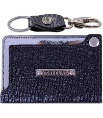 kit artlux porta cartão de couro + chaveiro