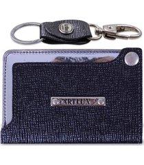 kit artlux porta cartão de couro + chaveiro - unissex
