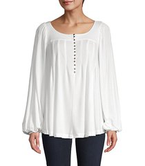 balloon-sleeve half-button top