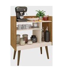 aparador vintage retrô café pés de madeira maciça off-white/cinamomo móveis bechara