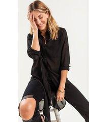 women's aliza sheer tunic button down in black by francesca's - size: l