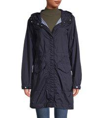 woolrich women's channel parka jacket - melton blue - size xs