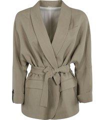 brunello cucinelli tie-waist jacket