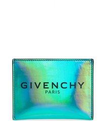 men's givenchy logo holographic card case - blue/green