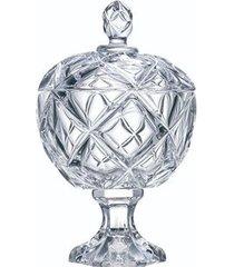 bomboniere bruxelas com pé l'hermitage em cristal 10,5 x 17 cm