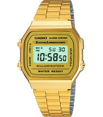 relógio digital casio unissex illuminator a168wg-9wdf dourado