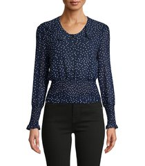 70/21 women's dotted chiffon top - navy - size s