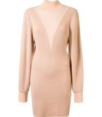 dion lee knitted merino ribbed dress - neutrals