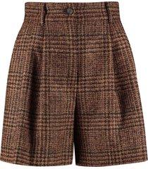 dolce & gabbana checked wool shorts