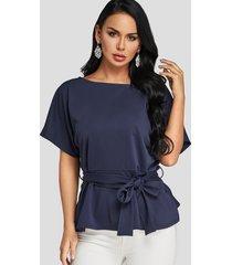 blusas con sobrefalda y mangas dolman azul marino