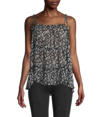 central park west women's printed cami top - black - size l