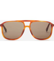 gucci men's aviator style tortoiseshell sunglasses - havana/brown