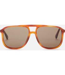 gucci men's aviator style tortoiseshell sunglasses - havana/brown