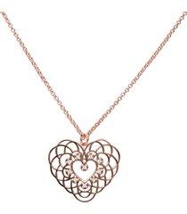 collana in ottone rosato e strass con ciondolo big a forma di cuore per donna