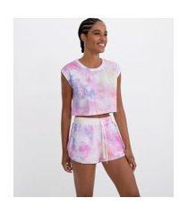 blusa regata cropped em algodão tie dye comfy | blue steel | multicores | m