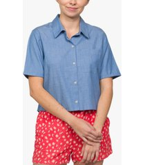 hurley juniors' high-low chambray shirt