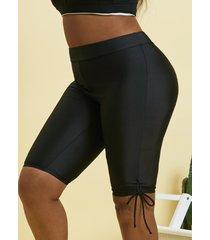plus size cinched tie rash guard swim shorts