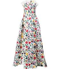 carolina herrera strapless floral-print gown - white