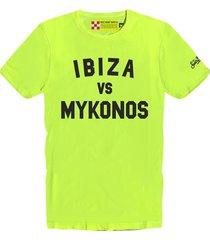 ibiza vs mykonos yellow fluo mans t-shirt