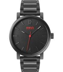 hugo men's #rase black stainless steel bracelet watch 42mm