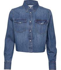 cropped modern weste jeansjack denimjack blauw calvin klein jeans