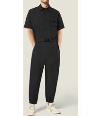 hombres verano casual street style botón liso con cinturón bolsillos delanteros overol mono