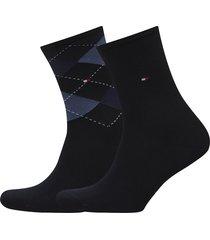 th women check sock 2p lingerie socks regular socks svart tommy hilfiger