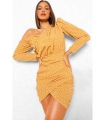 geplooide assymetrische jurk met stippen, mustard