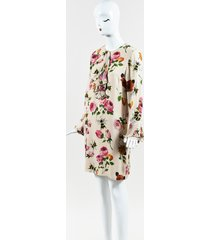 beige multi silk floral print long sleeve shift dress