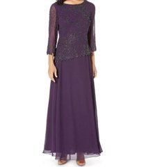 j kara beaded 3/4-sleeve gown