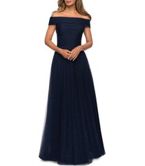 women's la femme embellished off the shoulder mesh gown, size 8 - blue