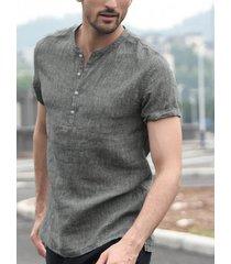 hombres vendimia color sólido soporte cuello botón delantero camisa