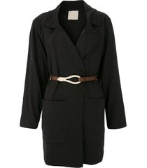 framed linen loose fit coat - black