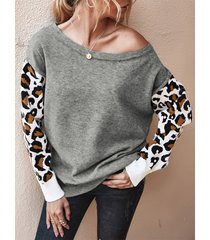leopard patchwork round cuello sudadera de manga larga