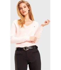 sweater  tommy hilfiger rosa - calce regular
