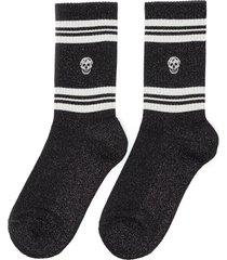 mid calf contrast stripe skull socks