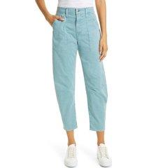 women's veronica beard charlie barrel crop pants, size 30 - blue/green