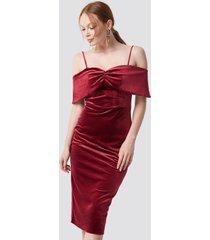 trendyol velvet evening dress - red