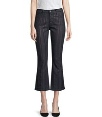 jodi metallic slim-fit high-rise crop flare jeans