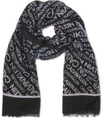 calvin klein diagonal-logo scarf