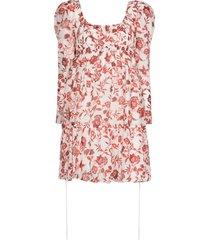 erdem sibyl puff-sleeve dress - white / red
