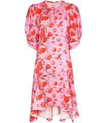peter pilotto pleated floral-print mini dress - pink