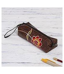 leather pencil case, 'moray flower' (peru)