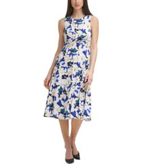 vince camuto floral-print twist-front midi dress