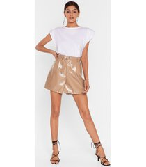 womens the vinyl countdown high-waisted shorts - camel